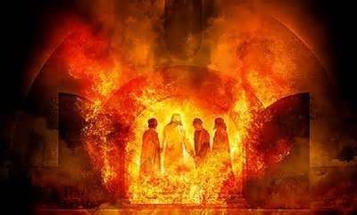 Shadrach Meshach and Abednego meet the Lord in the Fire