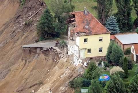 House built on sandy soil.  Erosion.