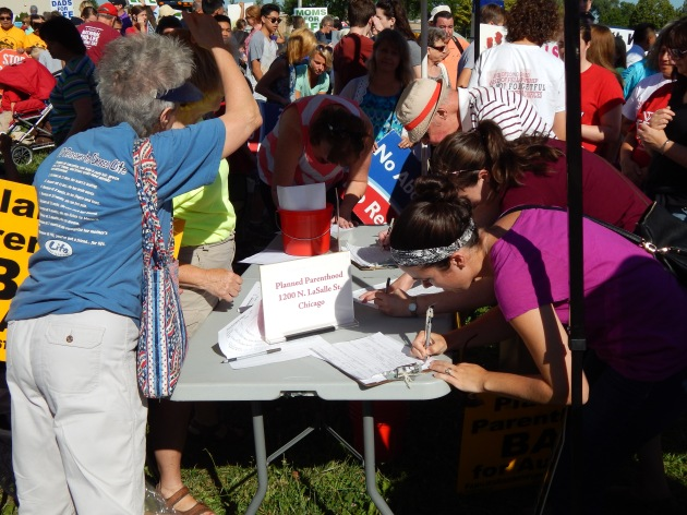 People signing up for the Pro-Life Action League contact sheet