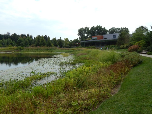 The Morton Arboretum's Visistor Center w/restaurant facing Meadow lake