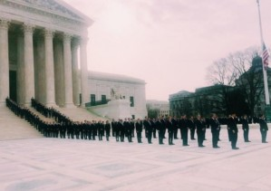 Antonin Scalia's law clerks await his body at the court - photo, Legal Insurrection